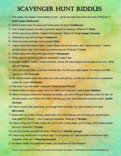 My Newfound Love of Scavenger Hunts: 10 Reasons to Try Them Best Picture For harry potter Riddles For Your Taste You are looking for something, and it is going to tell you exactly what you are looking Scavenger Hunt Riddles, Easter Scavenger Hunt, Outdoor Scavenger Hunts, Scavenger Hunt Birthday, Christmas Scavenger Hunt, Scavenger Hunt For Kids, Christmas Games, School Scavenger Hunts, Funny Scavenger Hunt Ideas