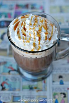 Indulge in this skinny caramel mocha. So easy to make and just under 150 calories!