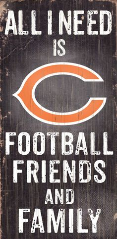 "Chicago Bears Wood Sign - Football Friends and Family - 6""x12"""