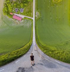 I took 5 pictures with my drone and stitched them together to create this inception style picture - Imgur