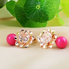 CZ flower #Earring, with Glass #Pearl, more colors.