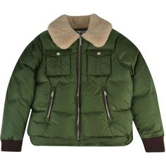 DSQUARED2 Junior Boy Shearling Bomber Jacket ($585) ❤ liked on Polyvore featuring outerwear, jackets, padded jacket, green jacket, fur trim jacket, flight jacket and green zipper jacket