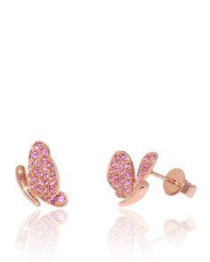 Butterfly Earrings in Pink Sapphires