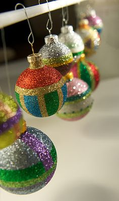 Glitter baubles by MS craft dept