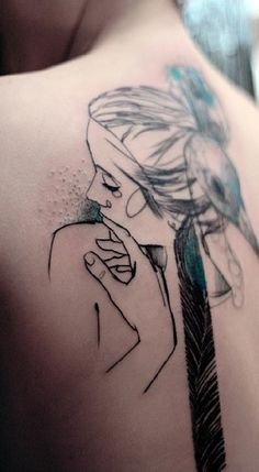 Marta Lipinski - great sketch style tattoos with minimalistic use of color.