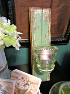 Antique Glass Insulator | Spring Gift Idea Repurposed Vintage Glass Insulator Candle Sconce Set