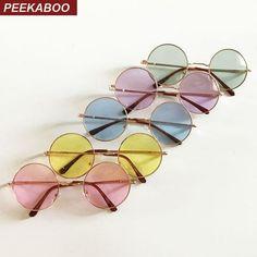 a3576847228e Круглые очки от солнца с тонкой металлической оправой и цветной ...