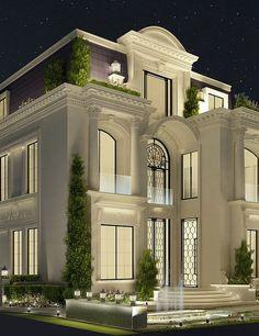 Exterior Home Design – Exterior Interior Design Dubai, Interior Design Companies, Classic House Design, Modern House Design, Classic House Exterior, Classic Style, Villa Design, Architecture Design, Beautiful Architecture