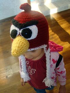 Try our free crochet pattern for this Angry Birds Hat.  We have this red bird hat and other Angry Birds character hats at Craftown. Find many more free crochet patterns here.