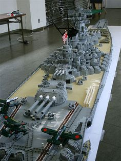 Battleship Yamato. 1:40 Lego model by Jumpei Mitsui. 22 ft long; 3 ft. wide; 330 pounds; 200,000 Lego pieces