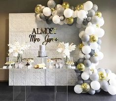engagement party ideas decorations Loving the grey and marble shades for this elegant bridal shower Styling by Backdrop Wall & Table by Balloons by Cake by Acrylic sign by Desserts by @ Venue Balloon Garland, Balloon Decorations, Birthday Decorations, Wedding Decorations, Ballon Backdrop, Cake Table Backdrop, Cake Table Decorations, Balloon Ideas, Balloon Wall
