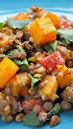 Warm Butternut Squash, Lentil and Feta Salad.   Would recommend making this ahead of time and combining all,just before serving, so cheese doesn't melt into mixture.  Serve at room temperature.  Also used good balsamic vinegar