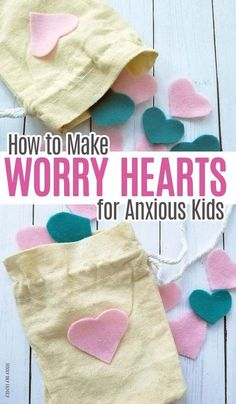 How to Make Worry Hearts for Anxious Kids Help anxious kids by making them a bag of worry hearts to take wherever they go! A sweet twist on worry stones for kids – these are perfect for the first day of school or any day. Counseling Activities, Activities For Kids, Play Therapy Activities, Anxiety Activities, Counseling Quotes, Calming Activities, Career Counseling, Physical Activities, Child Life Specialist