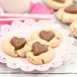 These peanut butter cookies are bursting with flavor and the little chocolate sweetheart candy makes these the perfect treat for your Valentine.