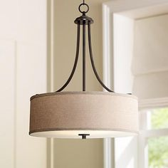 """To go over kitchen table: La Pointe 19 1/2"""" Wide Oatmeal Linen Shade Pendant Light"""