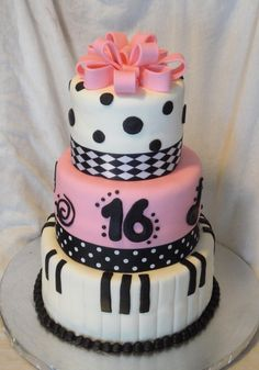 3 Tiered Sweet 16 Music Themed Cake Detailed With Pink