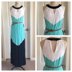 Color Block Summer Maxi Dress Gorgeous summer maxi dress with navy blue, aqua blue and white.  Halter neckline with button closure back of neck, elastic waistband with belt, brand new with tag, junior size LArge. I.N. San Francisco Dresses Maxi