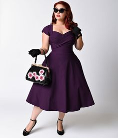 Plus Size Retro Dresses Stop Staring Plus Size Mad Style Eggplant Cap Sleeve Swing Dress
