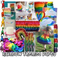 Rainbow Themed Birthday arange fruit in a rainbow