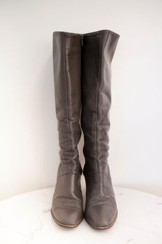 Vintage Gray Leather Boots