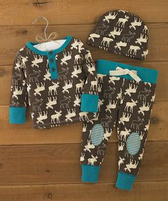 Save @ $12.99 Reg. $29.99 by Mud Pie ~ Brown & Turquoise Moose Pajama Set - Infant ~ Cute baby shower gift!