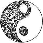 art Black and White banner yang hand-drawn yingyang ying ying and yang