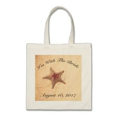 Starfish On The Shore Wedding Tote Bag - wedding bag marriage design idea custom unique