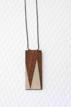 Angular Rectangle Necklace in Silver + Walnut  / Geometric Jewelry / Modern Laser Cut