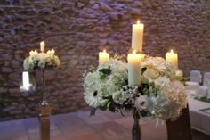 The Candelabras were filled to overflowing with Hydrangeas, Roses, Lissianthus, Freesias, Gerberas, Gysophilia, Astrantia and Tulips
