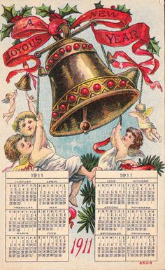 A joyous New Year! Vintage New Years Card- Calendar