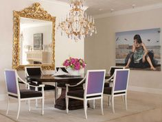 Stylish White Golden Dining Room With Purple Chairs And Antique Hanging Lamp