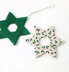 Star handsewn christmas ornaments modern white green by SewDanish, $13.00