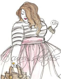 Pink Tulle, Plus Size Fashion Illustration, Art Print of a Watercolour Sketch