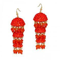 Weeding Wear Shiny stone studded #Handmade Orange color Disco Lack Jhumki #Earring for Girls  @eindiawholesale