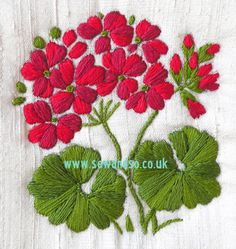 Geranium - Silk Stitch & SPusheen Crochet - How to Crochet: Textured Wave Stitchmachine embroidery designs at embroidery library color change - PIPicStatsCool Stuff To EmbroiderThis Pin was discovered by мар Embroidery Flowers Pattern, Silk Ribbon Embroidery, Crewel Embroidery, Hand Embroidery Designs, Embroidery Kits, Cross Stitch Embroidery, Japanese Embroidery, Lace Ribbon, Vintage Embroidery