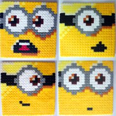 Despicable Me Minion Coaster Set perler beads by geekybeady