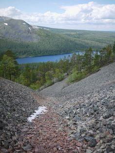 The Aakenus Fells in Lapland, Finland. The Pirunkuru rock-strewn ravine.