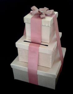 Ca_127 Caja para Sobres,Ivory -Guayaba para #bodas o #15años