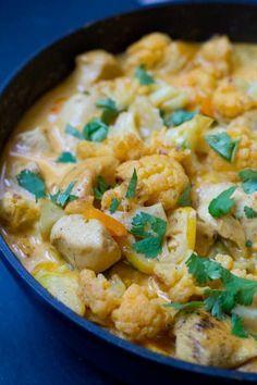 Blumenkohl Curry mit Hähnchen und Paprika - Genial!