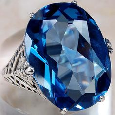 10 CARATS LONDON BLUE TOPAZ 925 STERLING SILVER VICTORIAN FILIGREE RING