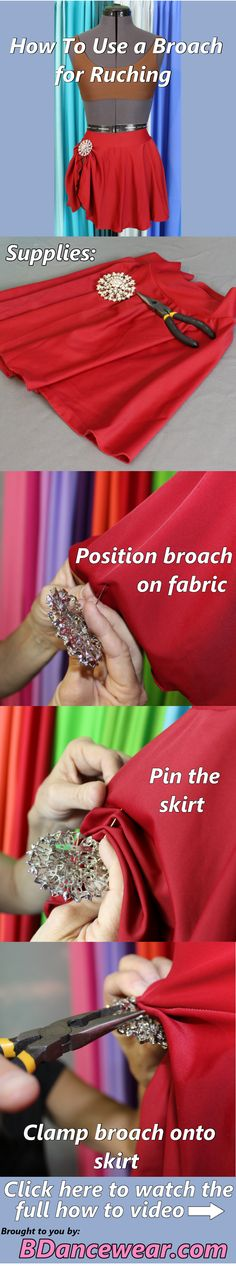 How to use broach for ruching for a dance costume.