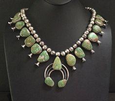 Rare Vintage Navajo  Sterling Silver  Mannasa Turquoise Squash Blossom Necklace