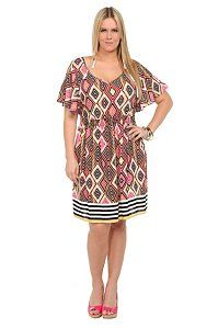Multicolor Diamond Striped Challis Dress #plus #size #fashion