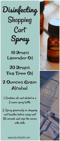 Essential Oils for disinfecting. Shopping Cart Spray. Kill germs with essential oils! #EssentialOils