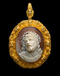 "Shell cameo, mid 19th century. Inspired by Guido Reni's paintings of this subject which shows Christ being presented to the people, crowned with thorns and wearing a purple robe. The crowd instead of taking pity on Him, screamed ""Crucify Him"" after the Roman Governor, Pontius Pilate said ""Ecce Homo"" or Behold the Man. The expression on the face of Christ is one of extreme suffering mingled with compassion for his persecutors... Diana Scarisbrick"