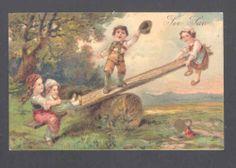 PFB Children Children Play on Teeter Totter Postcard | eBay