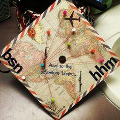 Travel themed graduation cap
