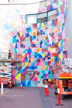Maya Hayuk painting at Wolf Lane for PUBLIC via a tactile life #mayahayuk