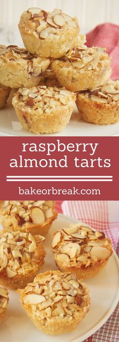 Raspberry Almond Tarts are simple bite-size tarts made with raspberry preserves and almond paste. Such a great flavor combination! - Bake or Break ~ Individual Desserts, Mini Desserts, No Bake Desserts, Delicious Desserts, Dessert Recipes, Baking Desserts, Small Desserts, Elegant Desserts, Plated Desserts