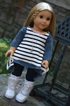 Trendy American Girl Doll Clothes Handmade Layered Shark Bite Tunics, Jeggings